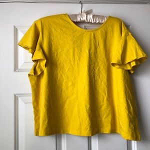 Yellow Cropped ruffle sleeve top